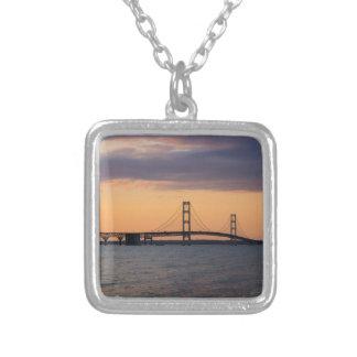 Orange Dusk Mackinac Bridge Silver Plated Necklace