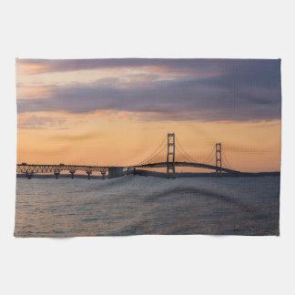 Orange Dusk Mackinac Bridge Tea Towel