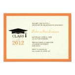 Orange ecru cap tassel graduation announcement