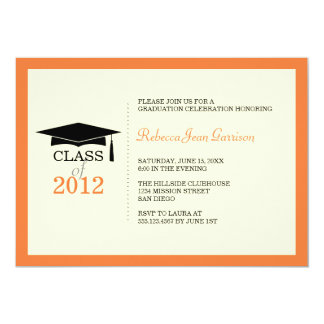 "Orange ecru cap tassel graduation announcement 5"" x 7"" invitation card"