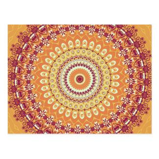 Orange Elegance Mandala Kaleidoscope Postcard