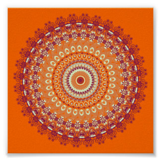 Orange Elegance Mandala Kaleidoscope Poster