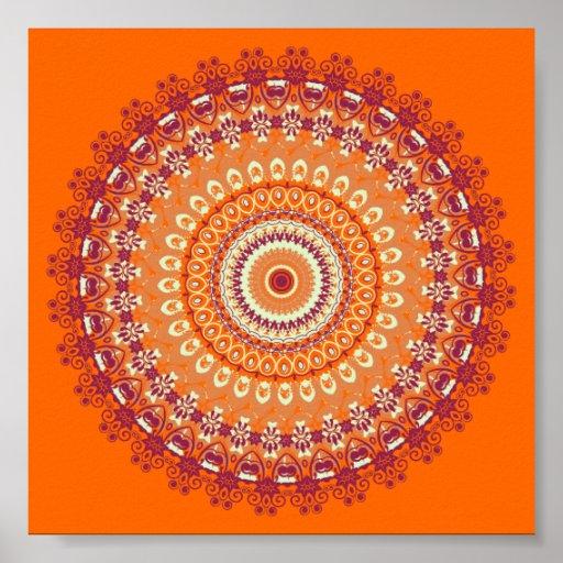 Orange Elegance Mandala Kaleidoscope Poster