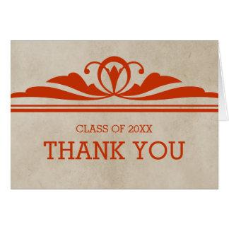 Orange Elegant Deco Graduation Thank You Card