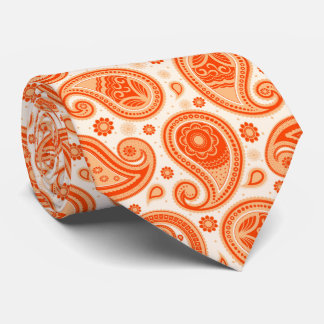 Orange elegant vintage paisley pattern tie