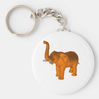 Orange Elephant Basic Round Button Key Ring