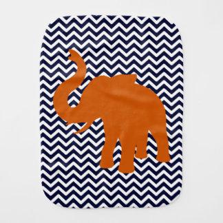 Orange Elephant With Blue Chevron Burp Cloth
