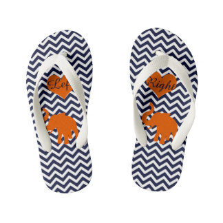 Orange Elephant With Blue Chevron Left Right Kid's Thongs