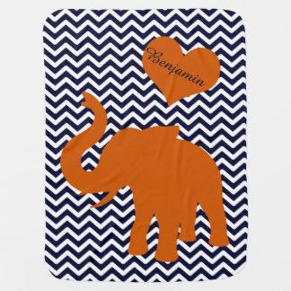 Orange Elephant With Blue Chevron Personalized Baby Blanket