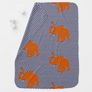 Orange Elephant with Blue Zig Zag Background Baby Blanket