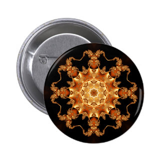 Orange enamel fibula pinback button