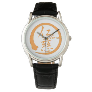 Orange enso circle | Japanese kanji for kindness Watch