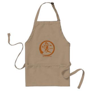 Orange enso circle   Japanese kanji for love Standard Apron