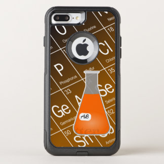 Orange Erlenmeyer Flask (with Initials) Chemistry OtterBox Commuter iPhone 8 Plus/7 Plus Case
