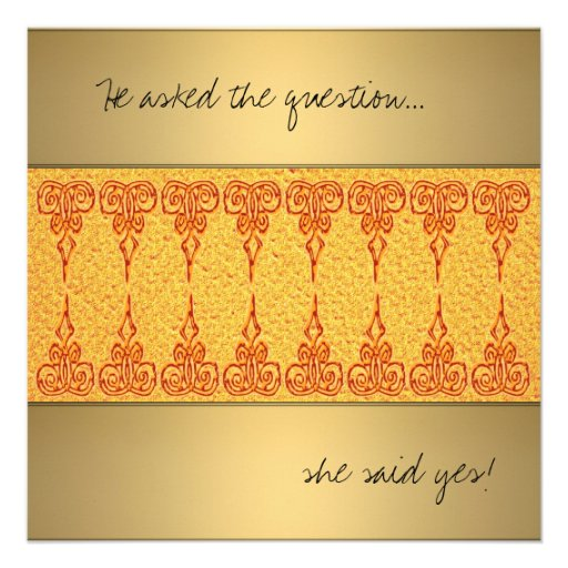 Orange  ethnic new age  engagement invitation