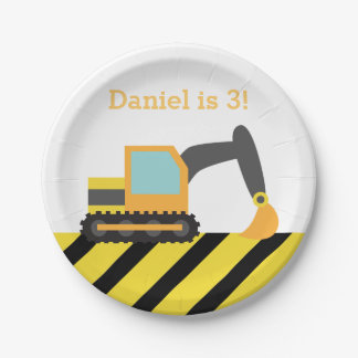 Orange Excavator Construction Boys Birthday Party 7 Inch Paper Plate