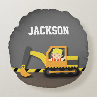 Orange Excavator Construction Boys Room Decor Round Cushion