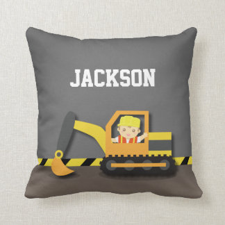 Orange Excavator Construction Boys Room Decor Throw Pillow