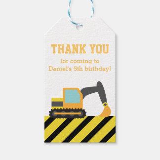 Orange Excavator Construction Kids Party Birthday Gift Tags