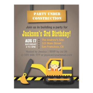 Orange Excavator Construction Theme Birthday Party Card