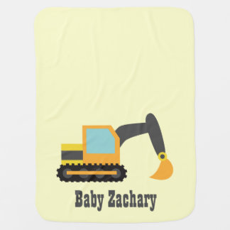Orange Excavator, Construction Vehicle, Baby Boy Pram blanket