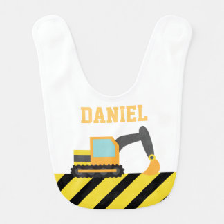 Orange Excavator, Construction Vehicle, For Babies Bib