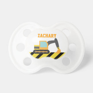 Orange Excavator, Construction Vehicle, For kids Baby Pacifiers