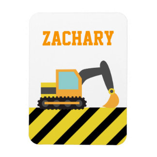 Orange Excavator, Construction Vehicle, For kids Rectangular Photo Magnet