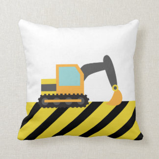 Orange Excavator, Construction Vehicle, For kids Throw Cushion