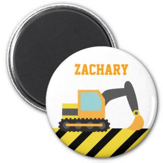 Orange Excavator, Construction Vehicles, for Kids 6 Cm Round Magnet