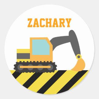 Orange Excavator, Construction Vehicles, for Kids Round Sticker