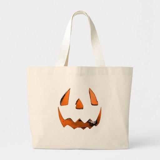 Orange Eye Jack O' Lantern Face Tote Bags