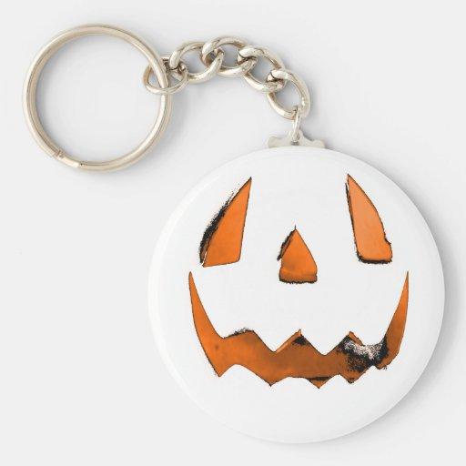 Orange Eye Jack O' Lantern Face Key Chains