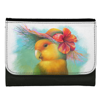 Orange-faced lovebird with hibiscus hat painting wallets