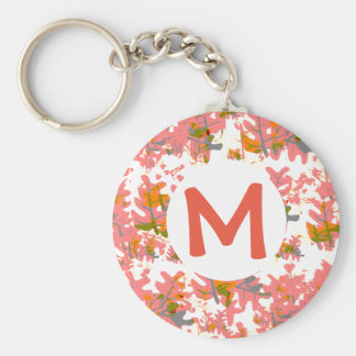 Orange Fall Coloured Leaves Pattern Add Your Name Basic Round Button Key Ring