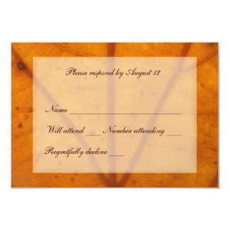 Orange Fall Leaf rsvp with envelope 9 Cm X 13 Cm Invitation Card