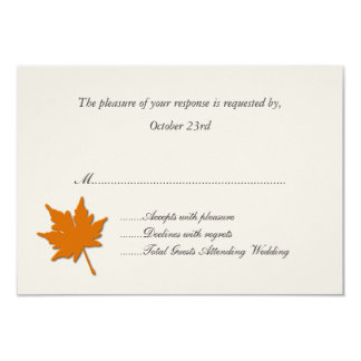Orange Fall Leaf Wedding Response Cards 9 Cm X 13 Cm Invitation Card