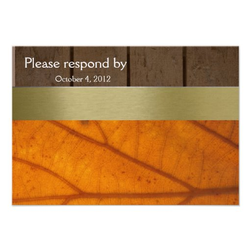 Orange Fall Leaf, Wood Planks RSVP with envelope Custom Invite