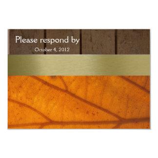 Orange Fall Leaf, Wood Planks RSVP with envelope 9 Cm X 13 Cm Invitation Card