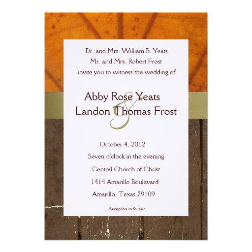 Orange Fall Leaf, Wood Planks Wedding Invitation