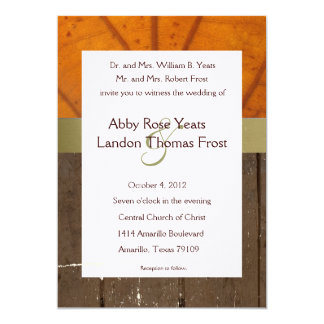 Orange Fall Leaf, Wood Planks Wedding Invitation