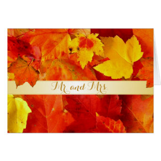 Orange Fall Leaves Wedding Thank You Cards