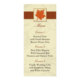 orange fall wedding menu custom rack cards