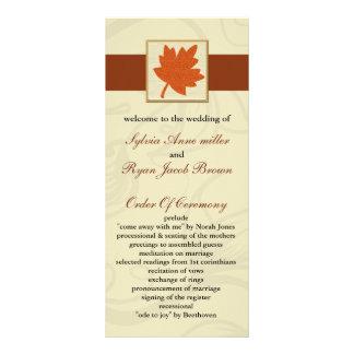 orange fall Wedding program Full Colour Rack Card