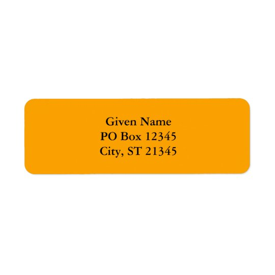 Orange FFA500 Return Address Label