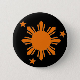 Orange Filipino Sun/Stars Button