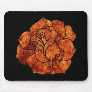 Orange Fire Rose Mouse Pad