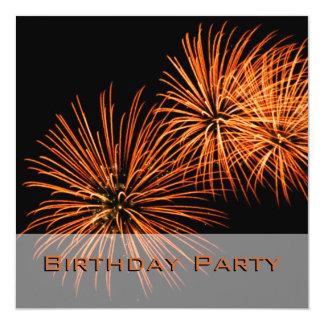 Orange Fireworks Birthday Party Invitation