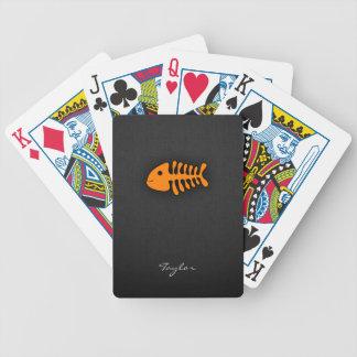 Orange Fish Bones Bicycle Playing Cards