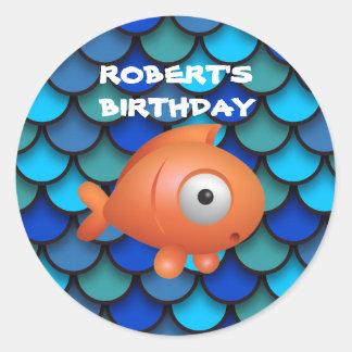 Orange Fish on Blue Under the Sea Birthday Round Sticker